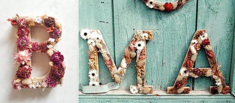 Banniere atelier votre lettre en fleurs sechees